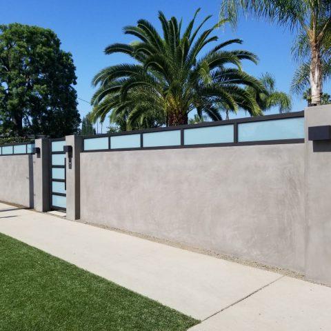 שערים-שער אלומיניום משולב פסי זכוכית
